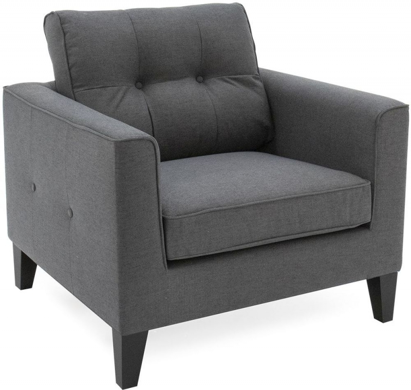 Vida Living Astrid 1 Seater Sofa - Charcoal Fabric