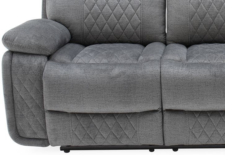 Vida Living Eason 3 Seater Recliner Sofa - Grey Fabric