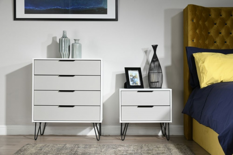 Hong Kong 4 Drawer Chest with Hairpin Legs - Kaschmir and White