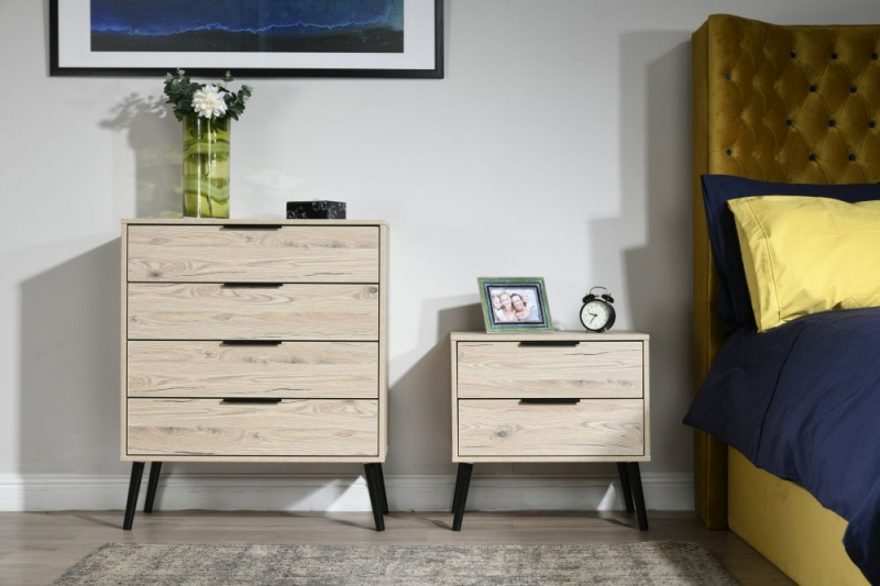 Hong Kong Bordeaux Oak 4 Drawer Chest with Wooden Legs