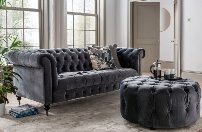 Vida Living Darby 3 Seater Sofa - Grey Velvet