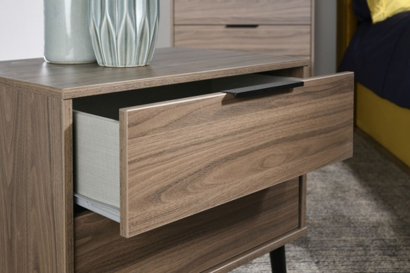 Hong Kong Carini Walnut 2 Drawer Bedside Cabinet with Wooden Legs