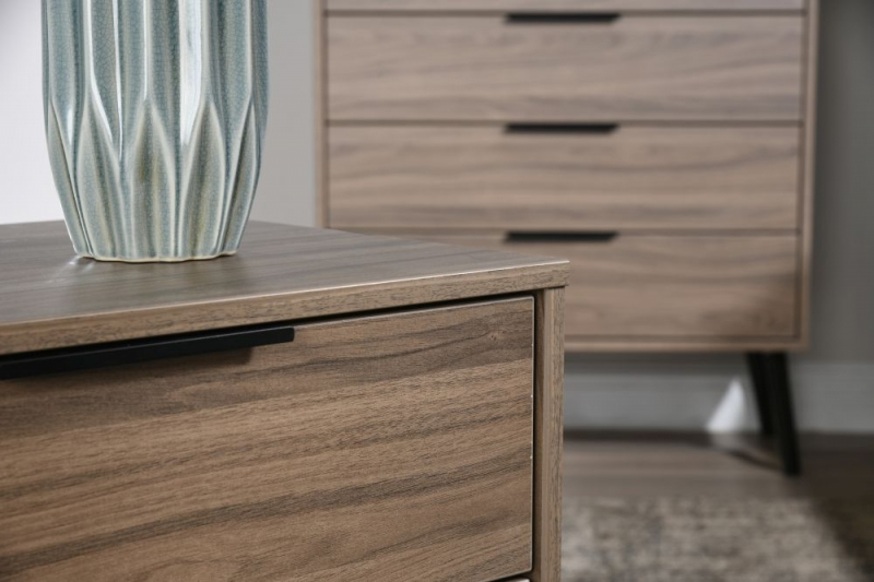 Hong Kong Carini Walnut 2 Drawer Midi Chest with Wooden Legs