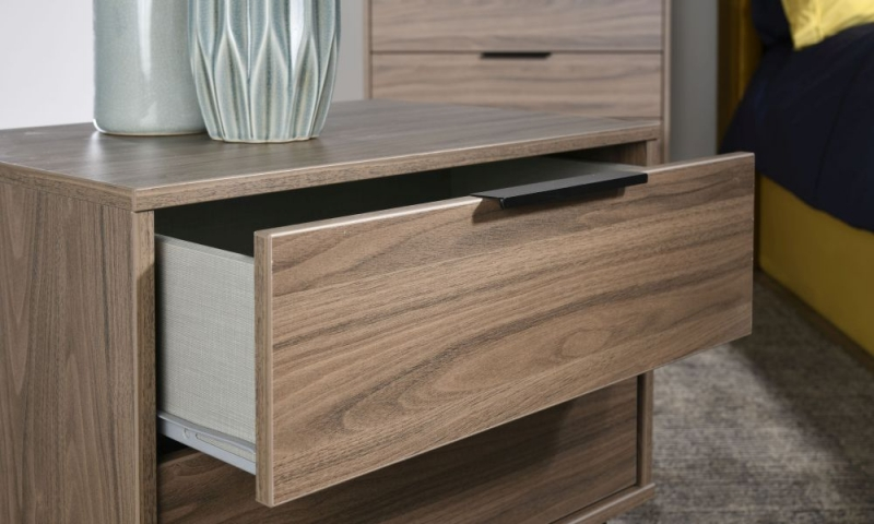 Hong Kong Carini Walnut 3 Drawer Midi Chest with Hairpin Legs
