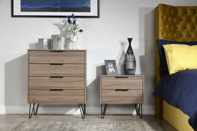 Hong Kong Carini Walnut 4 Drawer Chest with Hairpin Legs