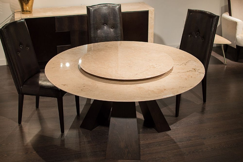 Stone International Butterfly Marble Dining Table with Wenge Wooden Base