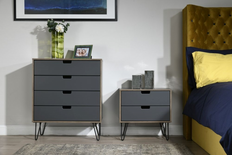 Shanghai Graphite 4 Drawer Chest with Hairpin Legs