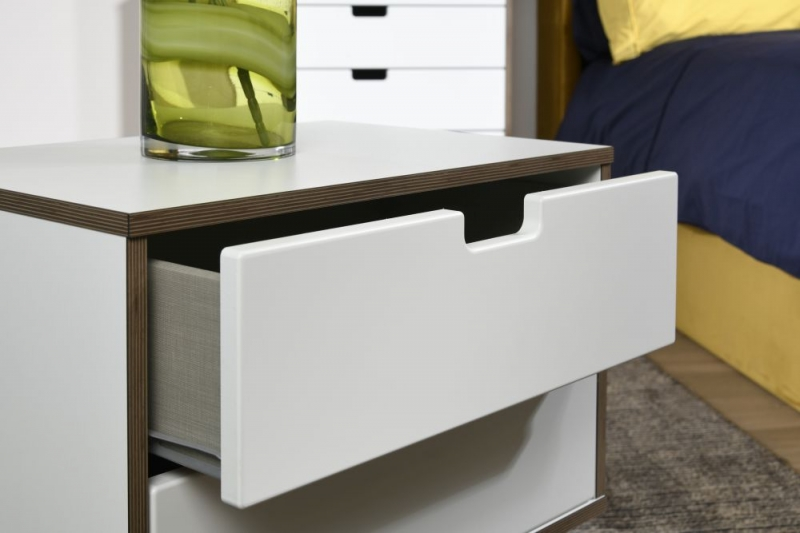 Shanghai High Gloss White 2 Drawer Bedside Cabinet with Wooden Legs