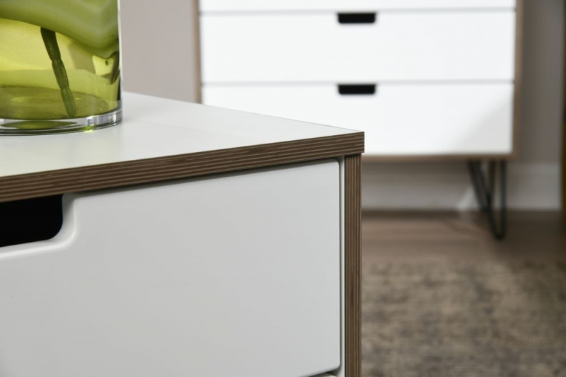 Shanghai High Gloss White Tall Bedside Cabinet with Hairpin Legs