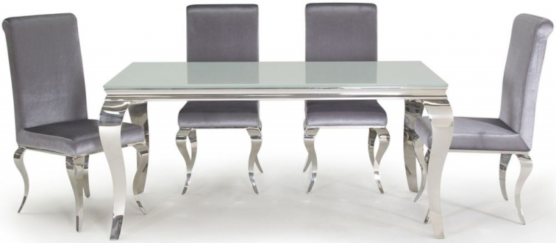 Clearance Half Price - Vida Living Louis Dining Table - Glass and Chrome - New - Z1031