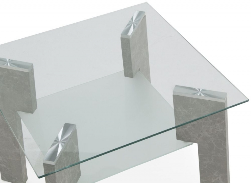 Vida Living Odense Lamp Table - Glass and Grey