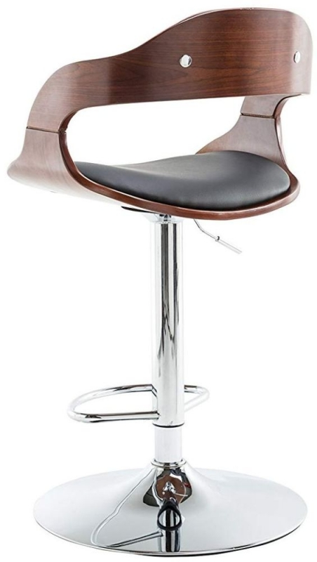 Alphason Windsor Faux Leather Bar Stool - Walnut and Black