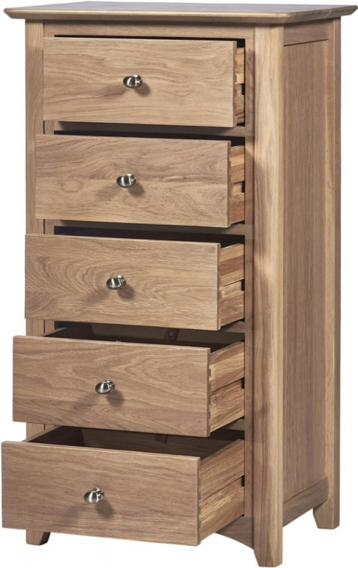 Toulouse Oak 5 Drawer Wellington Chest