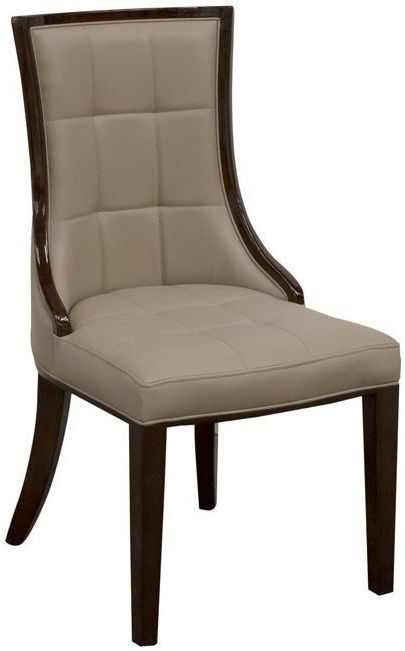 Clearance Half Price - Alfredo Taupe Faux Leather Dining Chair (Pair) - Taupe - New - T041