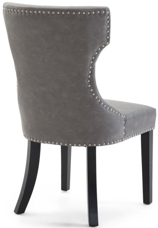 Clearance Half Price - Alisa Grey Leather Dining Chair with Wooden Legs - New - GR11