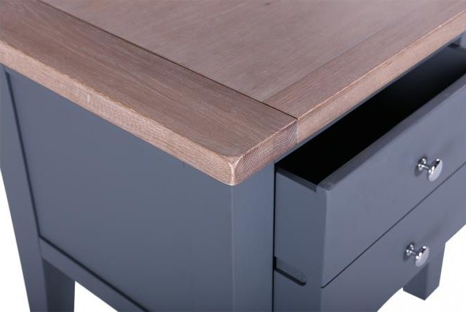 Clearance Half Price - Chalked Oak and Downpipe 1 Drawer Lamp Table - New - GR55
