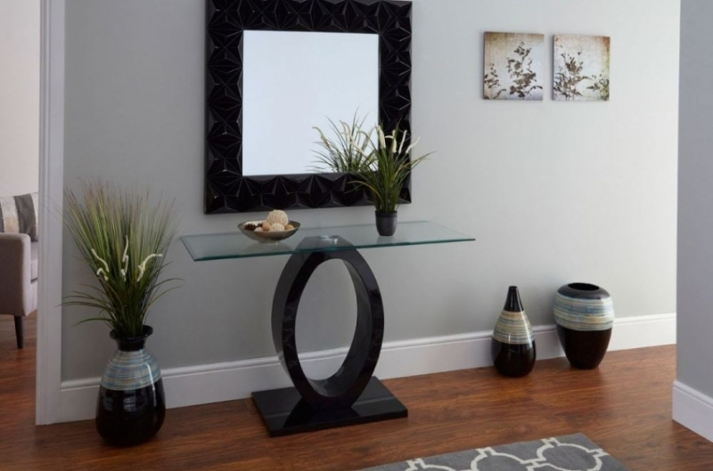 Clearance Half Price - Halo Black High Gloss Console Table - New - GR53