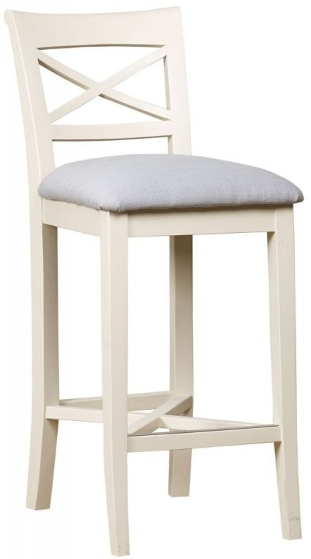 Clearance Half Price - Mark Webster Padstow Off-White Bar Stool with Fabric Seat Pad - New - Z1063