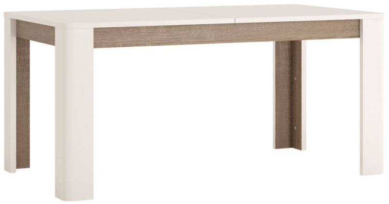 Chelsea Extending Dining Table and 4 Milan Gray Chairs - Truffle Oak and High Gloss White
