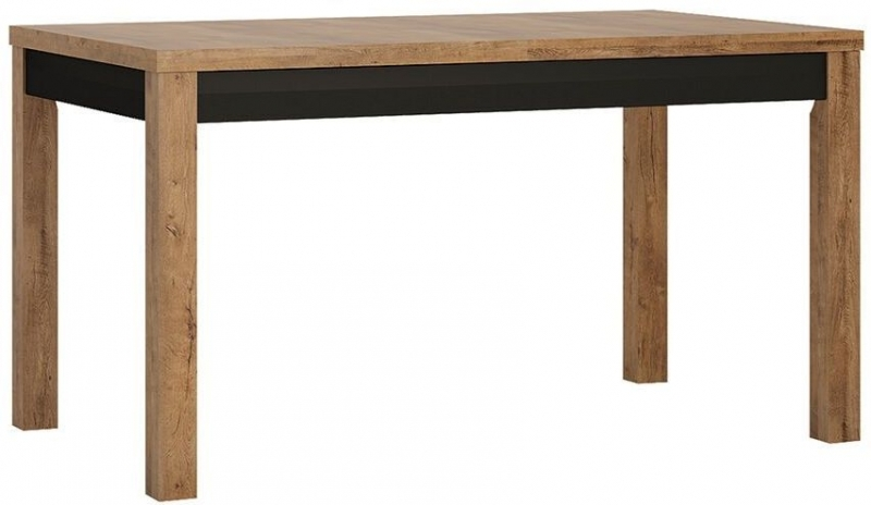 Havana Extending Dining Table and 4 Milan Dark Brown Chairs - Oak and Black