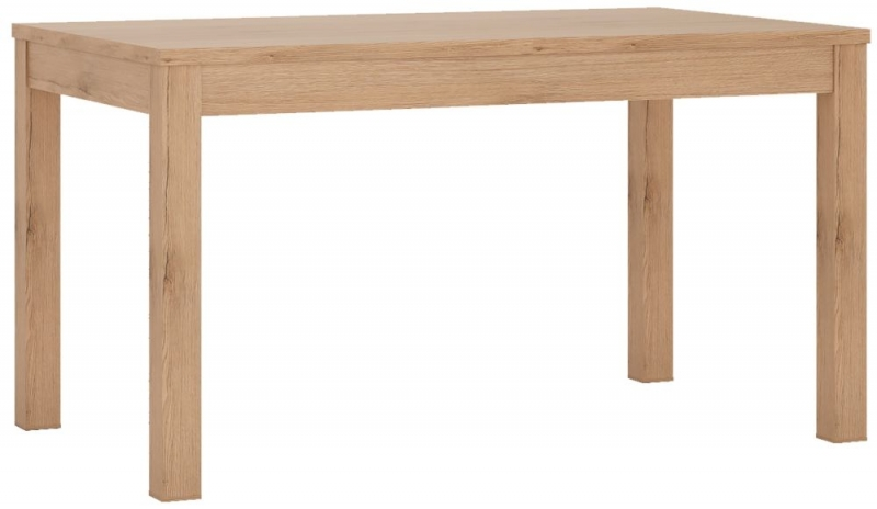 Kensington Oak Extending Dining Table and 4 Milan White Chairs