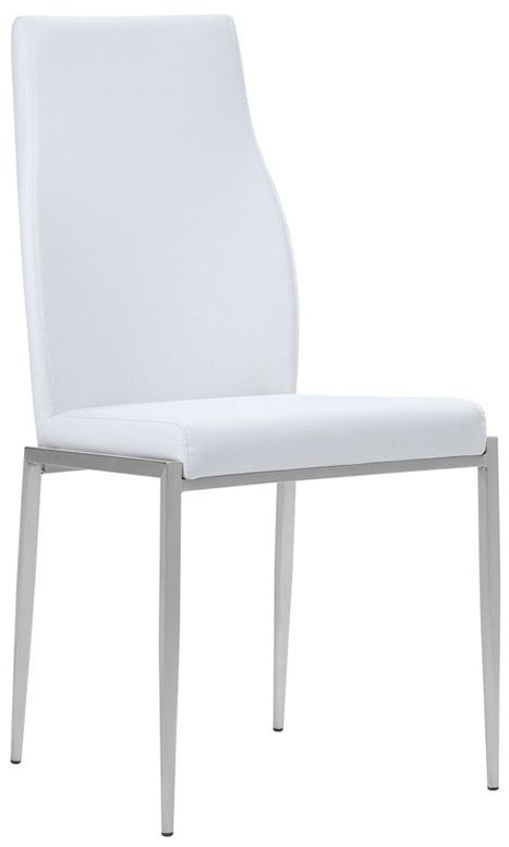 Lyon Medium Extending Dining Table and 4 Milan White Chairs - Riviera Oak and High Gloss White