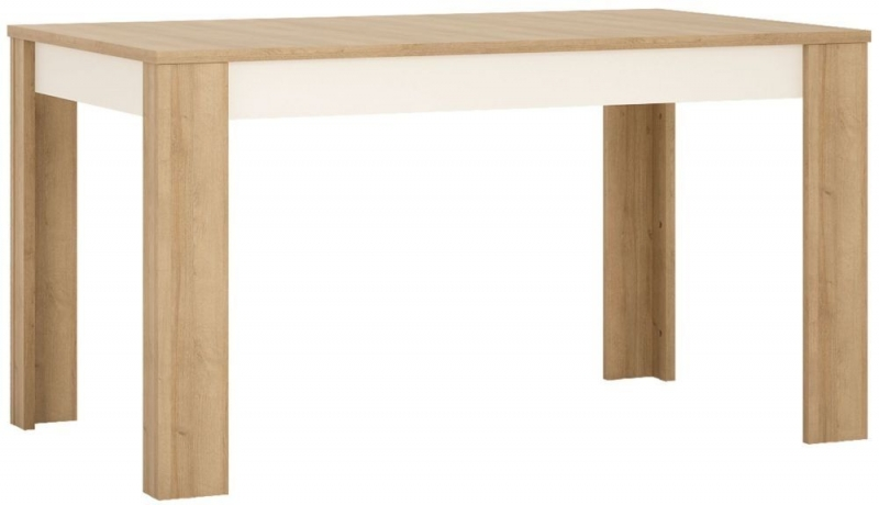 Lyon Medium Extending Dining Table and 6 Milan Dark Brown Chairs - Riviera Oak and High Gloss White