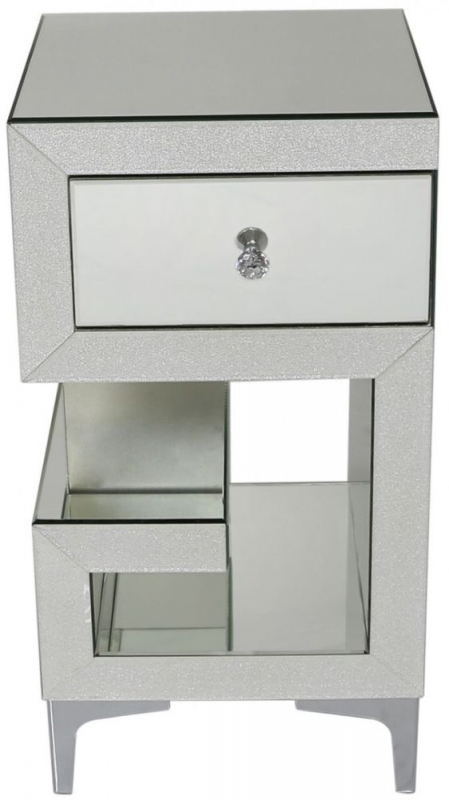 Tirana Champagne Sparkle Mirrored Right Bedside Cabinet