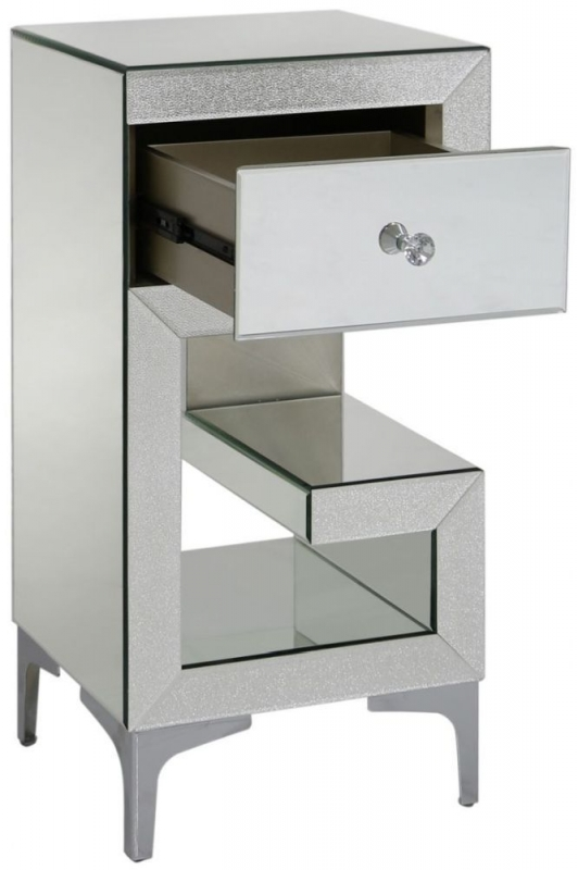 Tirana Champagne Sparkle Mirrored Left Bedside Cabinet