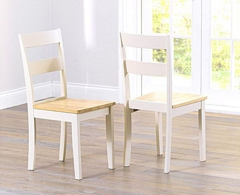 Mark Harris Chichester Dining Chair (Pair) - Oak and Cream