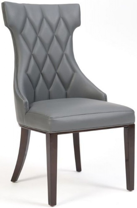 Mark Harris Fredo Grey Faux Leather Dining Chair (Pair)