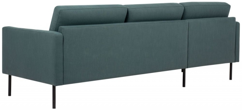Larvik Dark Green Fabric Left Hand Facing Chaise Longue Sofa with Black Metal Legs