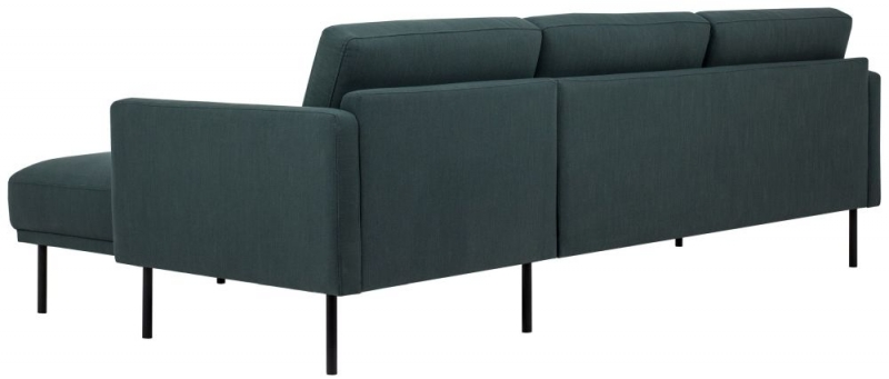 Larvik Dark Green Fabric Right Hand Facing Chaise Longue Sofa with Black Metal Legs