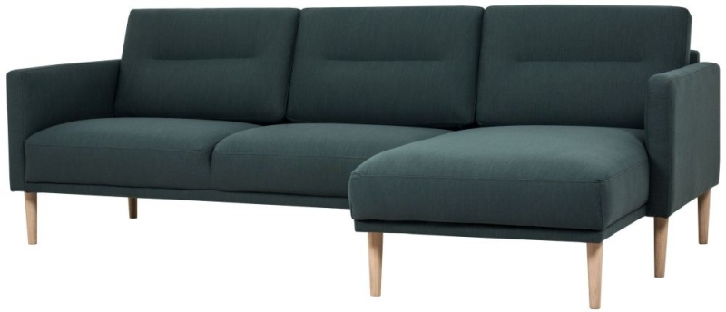 Larvik Dark Green Fabric Right Hand Facing Chaise Longue Sofa with Oak Legs
