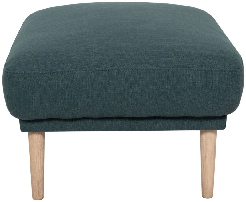 Larvik Dark Green Fabric Footstool with Oak Legs