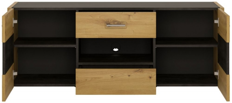 Aviles TV Unit - Artisan Oak and Dark Accents