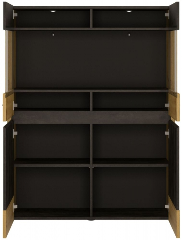 Aviles Low Display Cabinet - Artisan Oak and Dark Accents