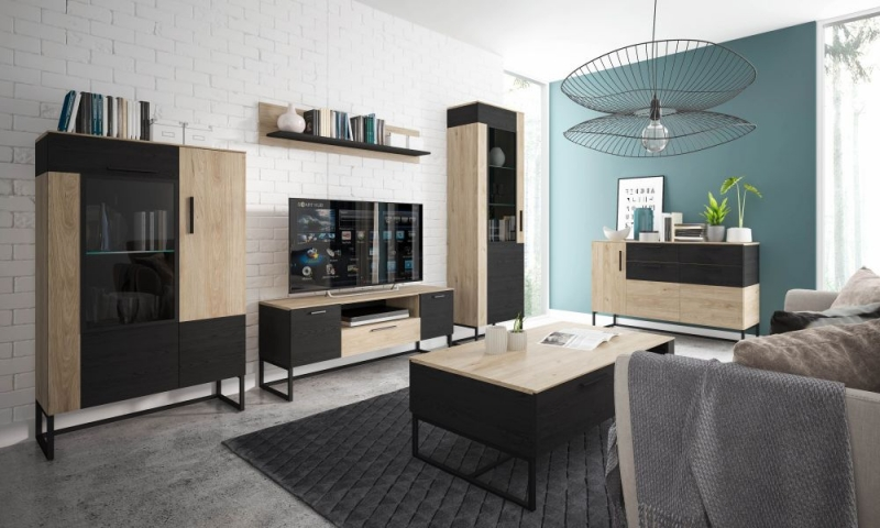Cordoba Low Display Cabinet - Light Jackson Hickory and Dark Accents