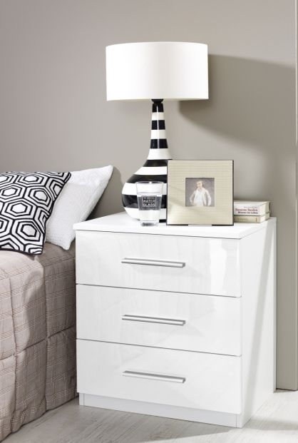 Rauch Vereno 5 Drawer Chest in Alpine White and High Gloss White