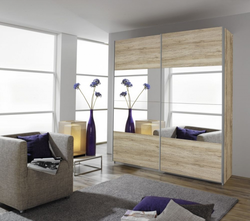 Rauch Quadra Sliding Wardrobe with Part Mirror Front