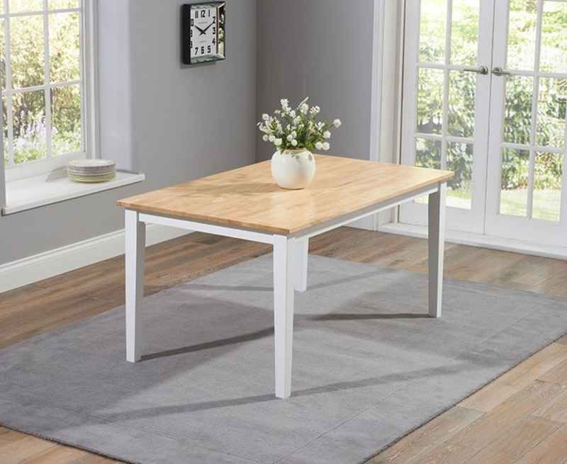 Mark Harris Chichester Large Dining Table and 2 Benches - Oak and White