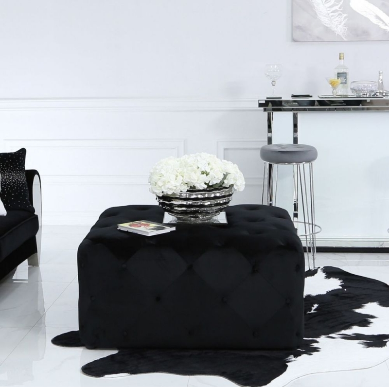 Albany Black Velvet Square Stool