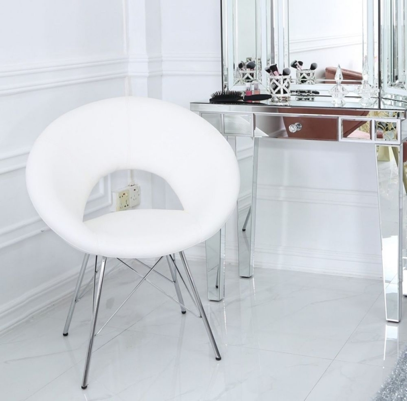 Bayonne Dining Chair (Pair) - White Faux Leather and Chrome
