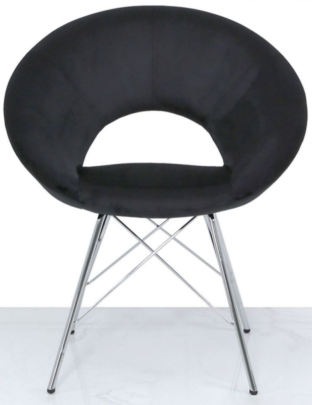 Bayonne Dining Chair (Pair) - Black Velvet and Chrome
