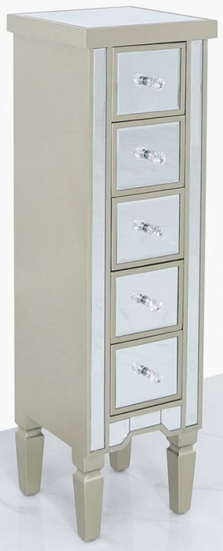 Wengen Champagne Trim Mirrored 5 Drawer Tallboy Chest