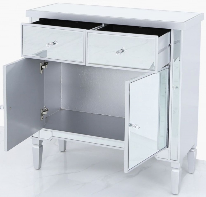 Wengen Silver Trim Mirrored Sideboard