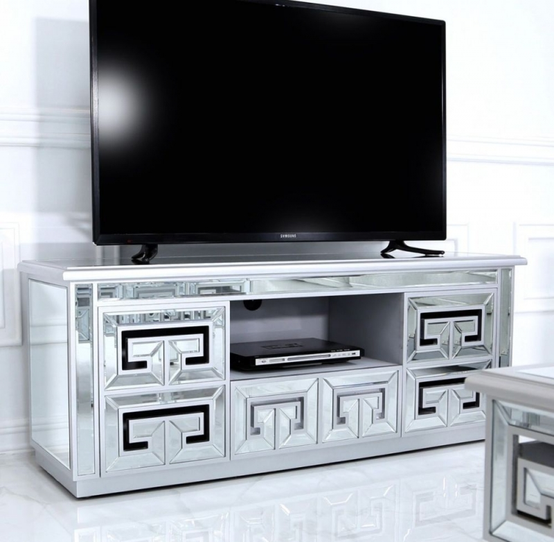 Essen Silver Trim Mirrored Entertainment Unit