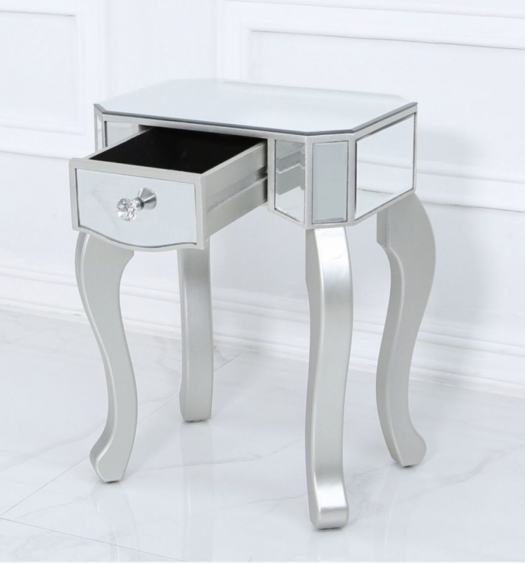 Selma End Table - Mirrored and Silver Painted