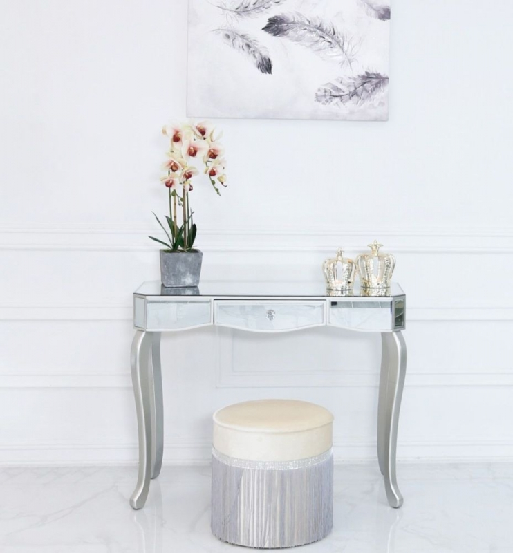 Selma Console Table - Mirrored and Silver Painted