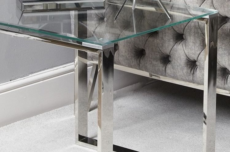 Hawarden End Table - Glass and Chrome